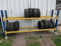 WHEELED TYRE STORAGE RACK RACKING BRITISH MADE HEAVY DUTY. 9ft2in LONG x 4ft7in HIGH. 280cm x 140cm