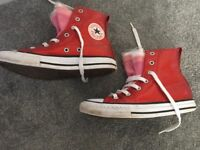 Kids red converse trainers size 1