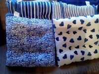 LOVELY NAVY AND WHITE FLORAL AND HEARTS AND STRIPES SEAT CUSHIONS SET OF 4