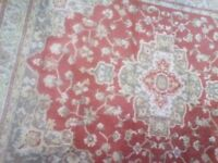 Rust brick red patterned vintage traditional style rug carpet 100 x 139 cms