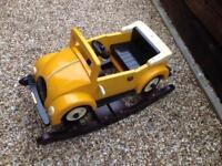 Solid wood kids rocking car