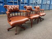 Genuine Leather Chesterfield Captains Leather Chairs x2 Can Deliver,£150 each