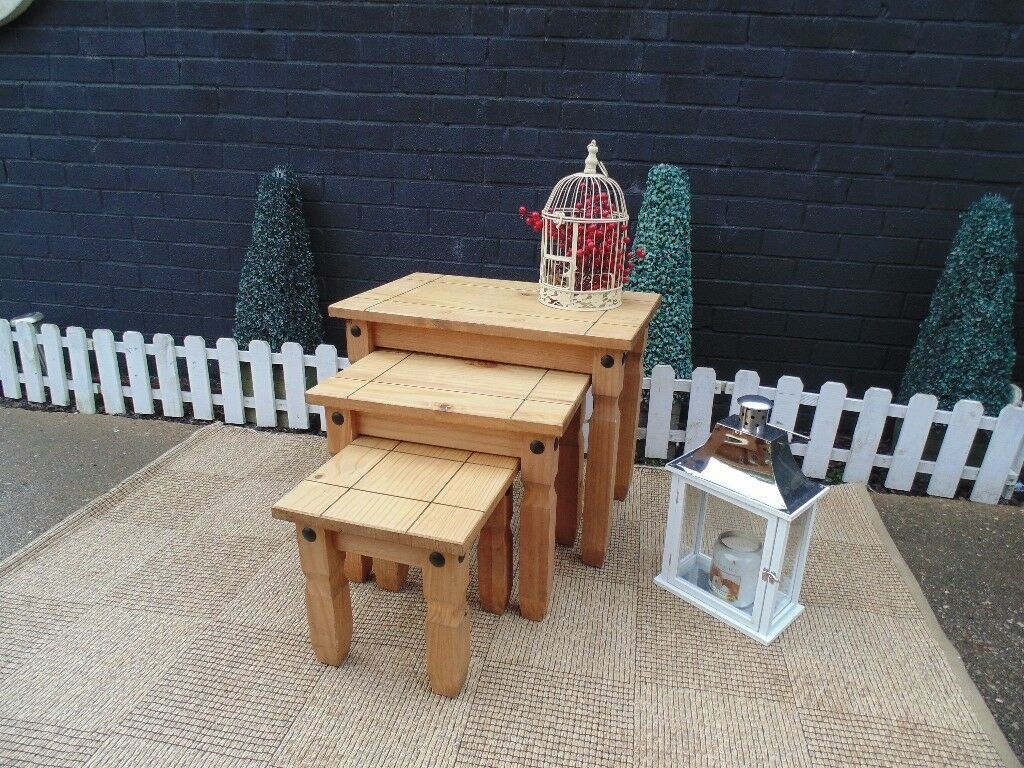 CORONA PINE LARGE NEST OF TABLES VERY SOLID SET AND THEY ARE IN EXCELLENT CONDITION 66/42/54 cm £40