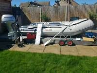 Honwave t38 inflatable v hull with 20 honda engine and lots more!