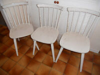 3 Painted Wooden Kitchen or Dining Chairs
