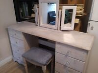 Beautiful wooden dressing table with mirror and stool