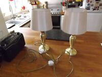 2 x Brass lamps with shades and LED bulbs.