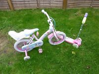 girls princess bike with stabilisers and mickey mouse scooter.