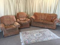 3 Piece Suite - Orange & Gold 3 Seater Sofa & 2 Armchairs - Duresta / Wade Style