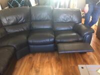 Black leather corner recliner SOLD