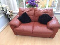 Brown leather deep cushioned sofa - great size