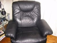 lazyboy black leather reclining chair and a sofa