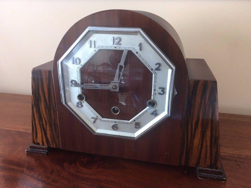 Art Deco Mahogany Westminster Chime Mantel Clock