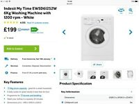 Indesit My Time 6kg Washing Machine 1200rpm In White. Fantastic machine needs to be gone by Friday