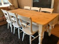 6ft Shabby Chic Chunky Farmhouse Pine Table and 6 Lovely Chairs