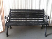 VINTAGE TRADITIONAL CAST IRON AND WOOD GARDEN BENCH FREE DELIVERY