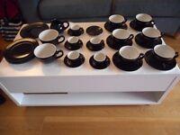 Black and white Tea set Crockery Steelite Make - Cups Plates Saucers Jug
