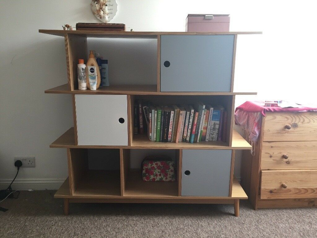 Wooden bookshelf for sale with built in cupboards
