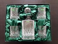 Galway Decanter Set - Irish 24% Lead Crystal - Whisky decanter with 4 glasses