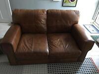 DFS tan Italian leather sofa