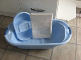 BABY BATH TUB AND ACCESSORIES.