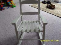 Childrens white wooden rocking chair