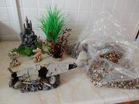 Various aquarium ornaments