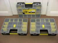 3 x Stanley Organiser Case Box Small Parts Cases Boxes