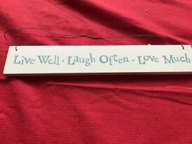 Live well, laugh often, love much wooden sign.
