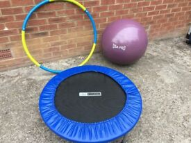 Gym ball, Trampoline and weighted hula hoop.