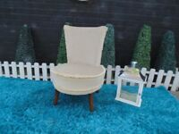 BEAUTIFUL SOLID WOOD FRAME AND BEIGE VELVET LADY'S BEDROOM CHAIR TABLE VERY SOLID CHAIR