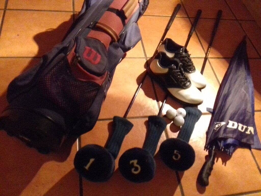 15 QUID CLUBS SHOES BAG UMBRELLAin Stockport, ManchesterGumtree - Price is for all items pictured and listed. 3 BROWNING DRIVERS (1,3 and 5) incl. covers with corresponding numbers. WILSON lightweight equipment bag in excellent cond. DUNLOP SIZE 9 GOLF SHOES condition as new DUNLOP umbrella, used,un damaged and a...