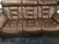 Brown Leather Suite of Furniture (3+2) - Excellent Condition