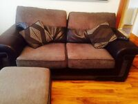 Sofa 3&2 seater & storage pouffe, leather / fabric