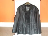 BLACK LEATHER JACKET BY ANGELO LITRICO. SIZE, LARGE.