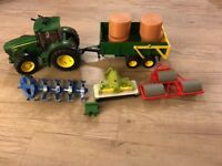 Bruder lorry, John Deere 7930 tractor with accessories