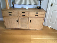 OAK SIDEBOARD, LARGE, 3 CUPBOARDS AND 5 DRAWERS; EXCELLENT CONDITION
