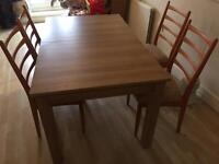 Wooden Dinning Table Extendable with 4 chairs