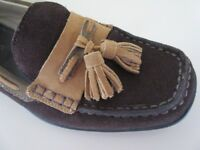 Hotter Lynton Brown Gold Nubuck Leather Comfort Loafer Moccasin Deck Shoe Sz 5.5