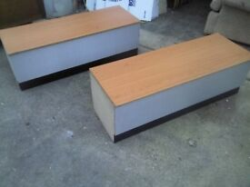 2 X WOODEN STORAGE CABINETS WITH LID - GREAT CONDITION