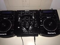 Numark NXD500's, Numark M4 Mixer, Mackie CR4 Speakers