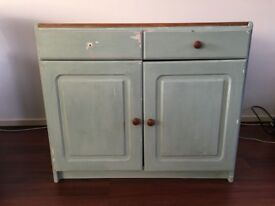 Beautiful Rustic Cabinet, Duck Egg Green with Wooden Top