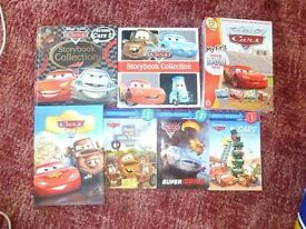 Lot of 6 DISNEY Cars Books. Plus New DVD Game Unopened.