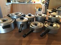 8 Agalux aluminium pans...all with lids