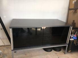 IKEA DARK GREY BLACK GLASS SLIDING DOOR FLOOR STANDING TV CABINET DVD ENTERTAINMENT TABLE STORAGE