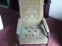wood and textile arm chair. retro look.