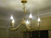 Gold Plated and Lead CrystalLight Fitting, 2 Available
