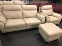 NEW - EX DISPLAY SOFOLOGY MOWSON LEATHER 3 + 1 SEATER SOFAS SOFA + FOOTSTOOL 70% Off RRP SALE