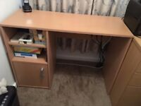 Desk with cupboard and 2 shelves 100cm x 40cm x 72.5cm