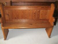 1.42m PINE CHURCH PEW. Delivery poss. LONGER PEW , CHAPEL CHAIRS, PINE TABLE & MONKS BENCH FOR SALE
